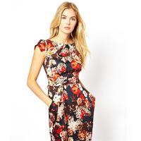 2014 Autumn Fashion Ladies' Dress O-Neck Petal Sleeve Ammonia Cotton Flowers Print Dresses Women Casual Office Dresses Vestidos