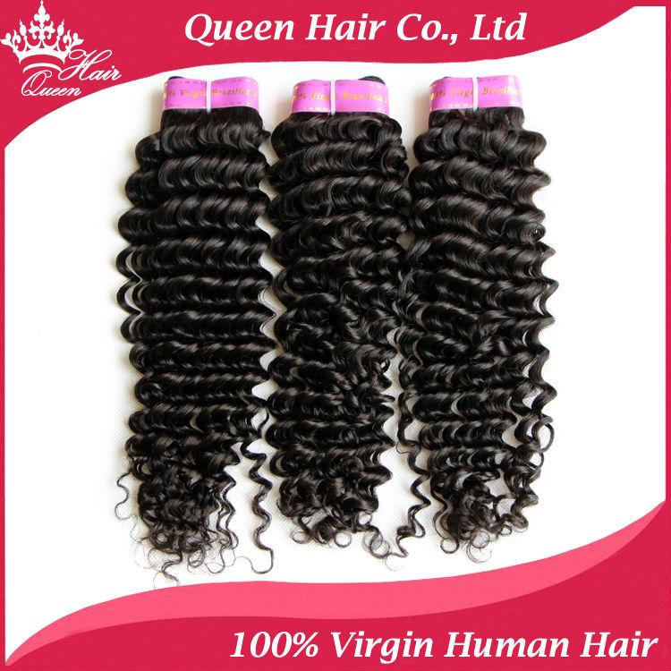 Queen Hair Products Brazilian Deep Wave Virgin Hair 100% Unprocessed Brazilian Deep Curly Virgin Hair Fast Shippping 3pcs/Lot(China (Mainland))