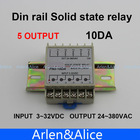10DA Din rail SSR quintuplicate five 5 input 3~32VDC output 24~380VAC single phase DC solid state relay(China (Mainland))