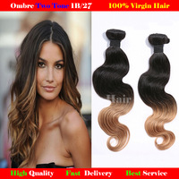 Two Tone Human Hair 1b 27# Ombre Hair extensions Beauty Weave malaysian virgin hair Body Wave 3pcs lot  Free Shipping