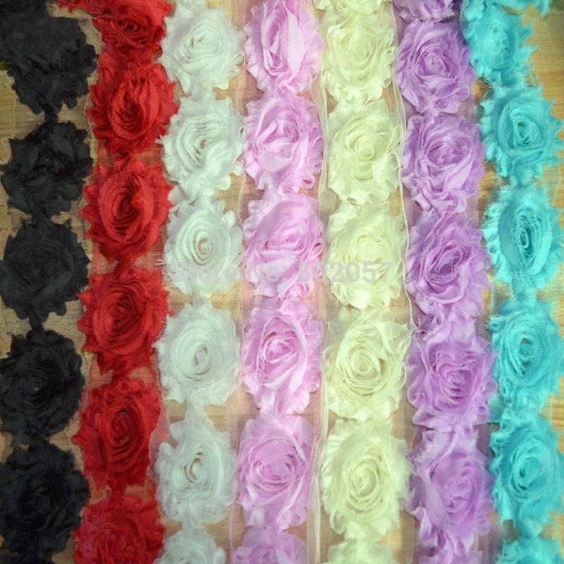 Shabby Chic Chiffon Flower Trim, Total 25 Colors 10 Yards 6CM Trim Chiffon Rose Flower, Rose Chiffon Lace Trimming(China (Mainland))