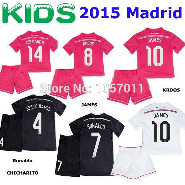 14 15 Real Madrid KIDS BOYS YOUTH KROOS JAMES away pink soccer jersey Ronaldo ISCO Real madrid KIDS Black football shirts 2015(China (Mainland))