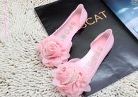 2014 New Arrival Spring Women Candy Color Rose Flower Pearl Jelly Sandals Flat Heel Platform Slip Open Toe Crystal Shoes
