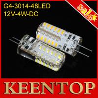 Crystal Light Non-polar Dc12V 350Lumen Silica Gel 4W 360 Degree G4 Led Corn Bulb 48Leds 3014 Chip Chandelier Light 10Pcs/Lot