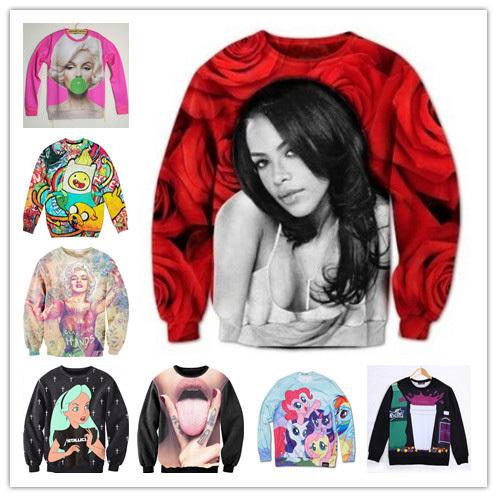 2014 NEW Fashion Women/mens hoodies and sweatshirts cartoon/animal/Skull 3d printed Pullovers sweaters Aaliyah hoody clothing(China (Mainland))