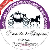 New Customize Adhesive Carriage wedding favor Sticker  3cm, W145
