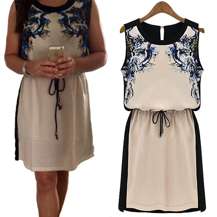 Casual dress Women Printed dress Fashion 2014 New Hot sales Summer Women's clothing tropical Chiffon Pinched Waist Women Clothes(China (Mainland))