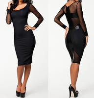 2014 New Long Sleeve Autumn Dress Black Bodycon Bandage Dress Midi Pencil Dress OL Brief Women Work Wear Office Dress 9076