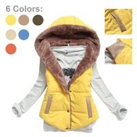 2014 winter & autumn plus size slim vest slim plus women all-match velvet cotton hood Vest lamb wool vest LS041