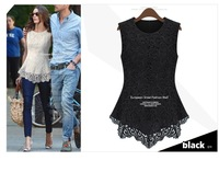 New 2014 Spring Summer Fashion Women Tops European Sexy Sleeveless Tank Top Vest Shirt Casual  Cotton Lace  Woman Dress Blouse