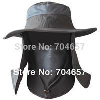 2014 Outdoor Summer Men Women UV Protection Sun Block Fishing Hat Multicolor Neck Protection Quick Drying Detachable Cap