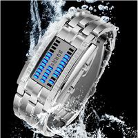 Skmei Women Dress Watches Fashion Blue LED Digital Binary Stainless Steel Sports Watch Ladies Wristwatches relogios femininos