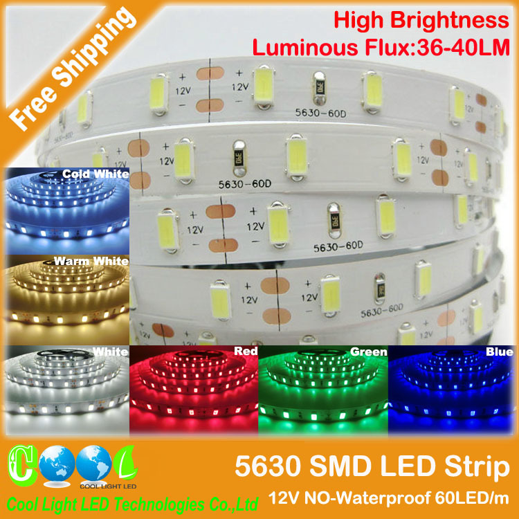 5630 SMD LED strip flexible light 12V Non-Waterproof 60LED/m 5m/lot,New LED Chip 5630 Bright Than 5050,Super Bright(China (Mainland))