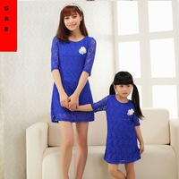 Original Design 2014 Clothing Sets Summer Mother Daughter 6 Styles Floral Lace Dresses Cute Wedding Party Blue One-piece Casual