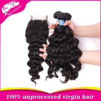 6A+ top grade wave hair extension virgin peruvian hair 3 piece lot with closure mix size with free shipping human hair