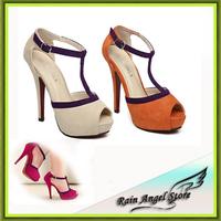 2014 Open Toe Women Pumps Velvet T - Strap Buckle Stiletto Thin Heels Sandals Fashion Sweet High Heels Women Sandals 3Colors