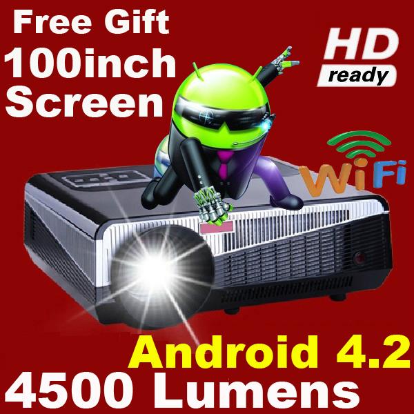 Dono gratuito 100 pollici atco più brillanti 4500 lumen Full HD 1080p Android 4.2 rj45 3D LED LCD proiettore wifi casaintelligente proyector