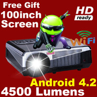 Free Gift 100inch Screen ATCO Brightest 4500lumen Full HD 1080P Android 4.2 RJ45 3D LED LCD Projector Wifi smart home proyector