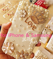 New arrival  Luxury  Rhinestone for samsung galaxy s4 i9500 s3 i9300 note2 n7100 note3 mobile phone leather crystal case cover