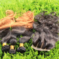Brazilian Virgin Hair Body Wave 1PC 3Way Part Lace Closure With 3Pcs Hair Bundles Ombre Hair Extensions Human Hair Weaves 5A