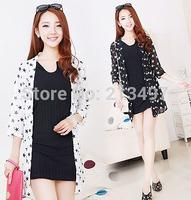 2014 summer new large size women print shawl cardigan sunscreen clothing chiffon shirt female dress with stars white