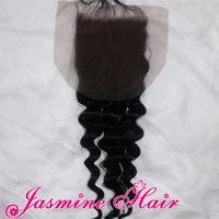 Natural color Virgin Brazilian loose Wave Hair 3 way Part Lace Top Closure Bleached knots 4x4 swiss Lace Front Closures