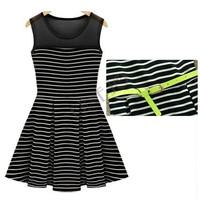 2014 Summer Women Striped Pleated Dress Black and White Chiffon Cotton Fashion Sleeveless Dress With belt SV000657 B9