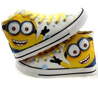 Despicable Me Minions Pattern Canvas Shoes for Women/Men Sneakers 2014 Couple/Lovers Shoes High Hand-painted Shoes Size EU 35-45
