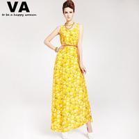 women long casual dresses summer plus size chiffon yellow peach print o-neck tank dress 2015 cheap clothing shop online P00075