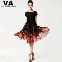 knee length dress plus size xxxl casual chiffon women summer batwing sleeve o-neck black flower print dress woman 2015 P00060