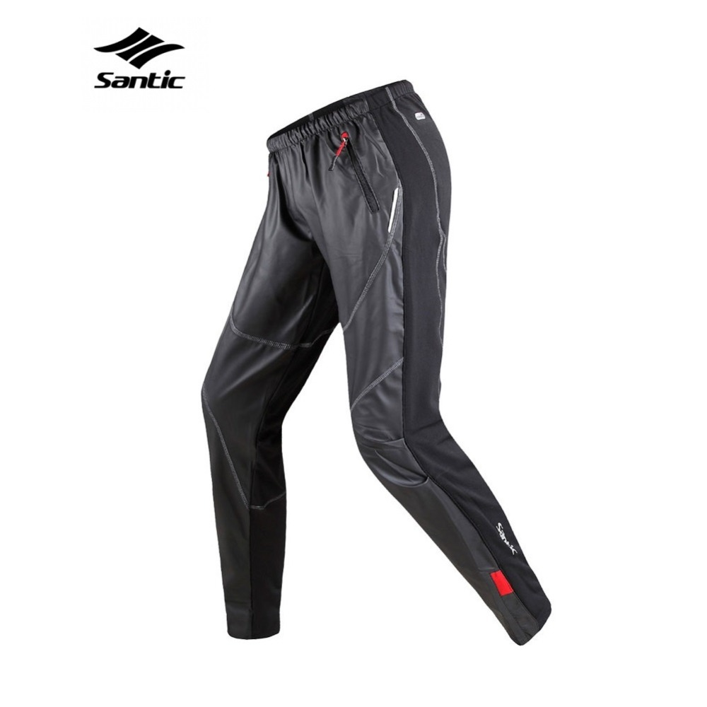 Santic Windproof Cycling Pants Fleece Thermal Outdoor Multi-use Running Hiking Camping Fishing Biking Fitness Trousers For Men(China (Mainland))