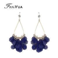 Boucle D'oreille 2014 Blue Rhinestone Gold Plated Alloy Hollow Out Flower Long Dangle Fan Shaped Earrings for Women