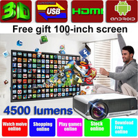 4500lumens Android 4.2 projector WiFi smart  HD 3D LED projector ,big  video projector screen ,game hd lcd projectors/proyector