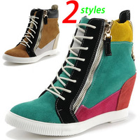 GZ Wedges Sneakers,Genuine Leather 2-styles,Double-sided Zipper,Size 35~39,Height Increasing 6cm,Women`s Shoes Boots