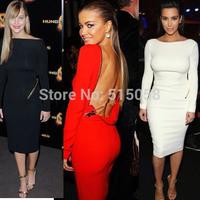 Long Sleeves Open Back Kim Kardashian Celebrity Party Evening Dresses Ladies Plus Size XXL Bandage Bodycon Dress 2015 Winter