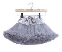 Free Shipping 2014 Soft Chiffon Fluffy Silver Grey Pettiskirt Tutu for Children Girls 2~8Yrs