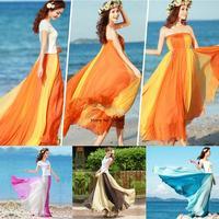 Hot Selling Women Soft Chiffon Contrast Elastic Waist Maxi Full Boho Skirt Dress Vintage Style Fashion Dress SV001221 b007