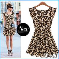 2014 New Fashion Women Summer Casual Ruffles Sleeve One Piece Vestidos Pleated Leopard Dress