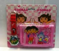 DHL/EMS free shipping 100sets/lot wholesale hot sales high quality Cartoon girls kids frozen Anna elsa Quartz wallet sets watch
