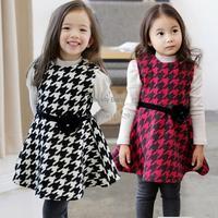 Fashion girl's kids Cute clothing Bird Grid Patterns Long Sleeve Dress Spring/Summer/Fall Birthday Gift SV000594 b009