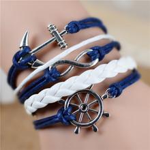 Free shipping Fashion Vintage Infinity Anchor Hook Artificial Leather Bracelet Men Women Bracelets Bangles Jewelry