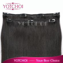 "Yotchoi hair clip in human hair extens 1B# 14""-26"" brazilian straight hair products 35g 5A 100% human hair extensions(China (Mainland))"
