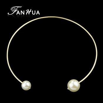 Имитация жемчужное ожерелье с золотой цвет сплава колье ожерелье новый ору ожерелье ...