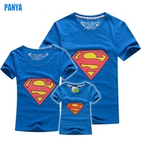 3-5pc/set superman family 2015 summer t shirt kids+dad+mum women men tees short sleeve factory PANYA BF13