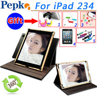 New Pepkoo 360 rotating Case for IPad4 leather cover for IPad2 3 stand Elastic Hand Strap Holder Credit Card Slot fashion luxury