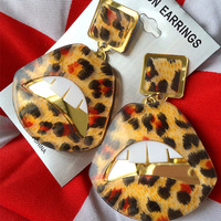 High Quality Fashion Jewelry Leopard Print Dangle Earring HipHop Acryl Mirror Gold Lip Large Drop Earrings for Women Accessories