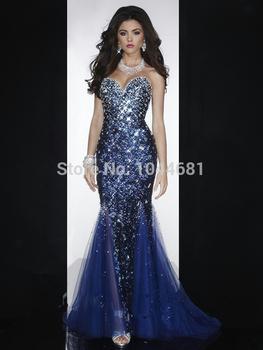 Ослепительная милая декольте рукавов из бисера полностью блестками синий русалка выпускного вечера платья 2014 театрализованное платья длиной до пола ,