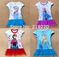 Free shipping red colors Frozen Elsa Dress Princess Dress Children girls Dresses Kids Summer Tee shirt Dress For Party