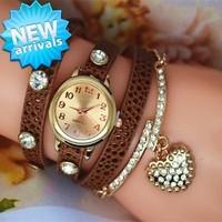 New Ladies Watch Love pendant decorate Snake leather Women's Watches Fashion Wrap Around Bracelet Watch Wholesale