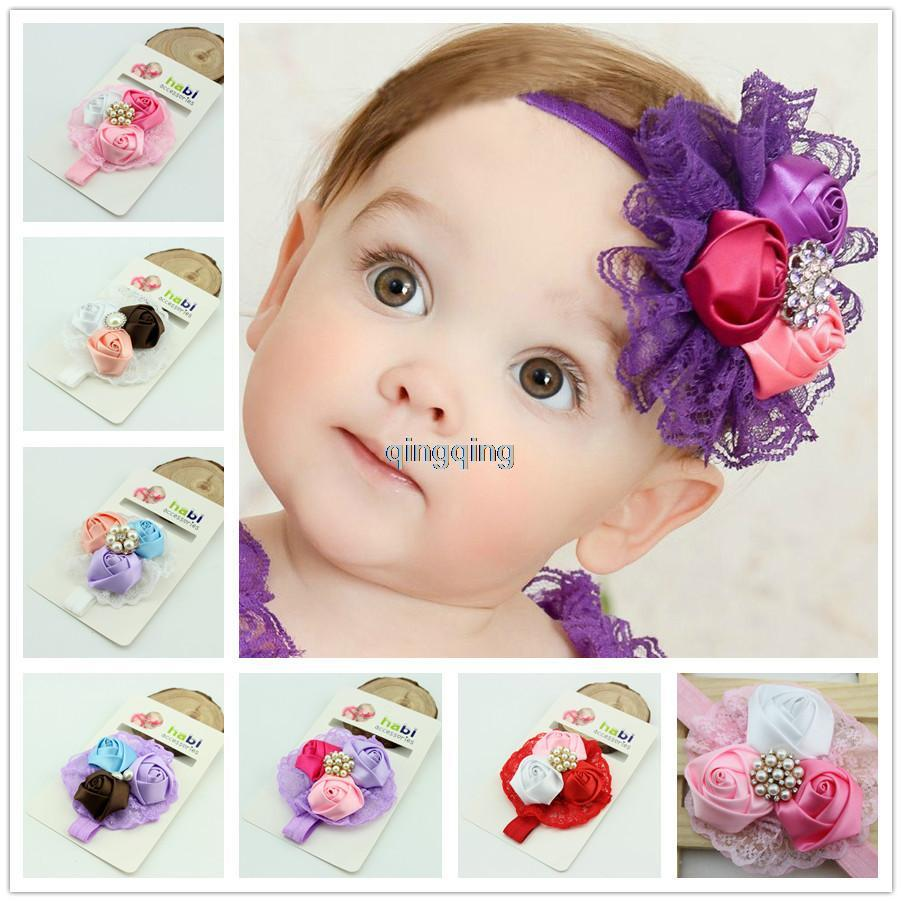 Handmade Baby/Infant Girl Toddler Lace Flower Headband Headwear Hair Band Soft 6colors 8pcs/lot(China (Mainland))
